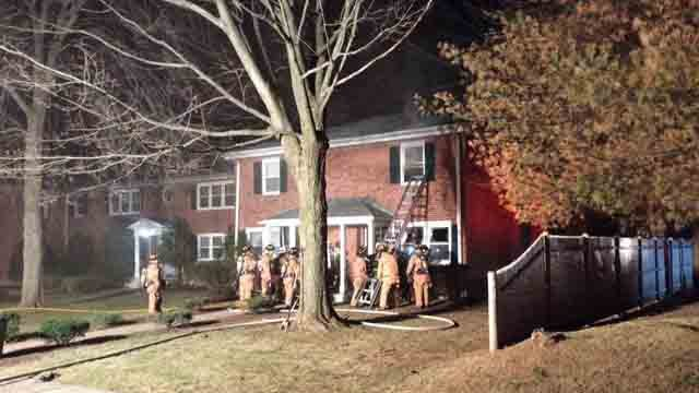 Fire crews in Wethersfield worked to put out a fire on Saturday night. (Wethersfield Volunteer Fire Department)