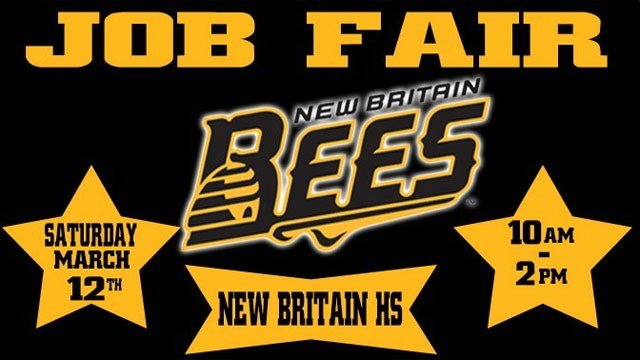 "New Britain Bees tweeted this photo about the job fair and said ""Buzz on by our Job Fair to join the Hive!"""