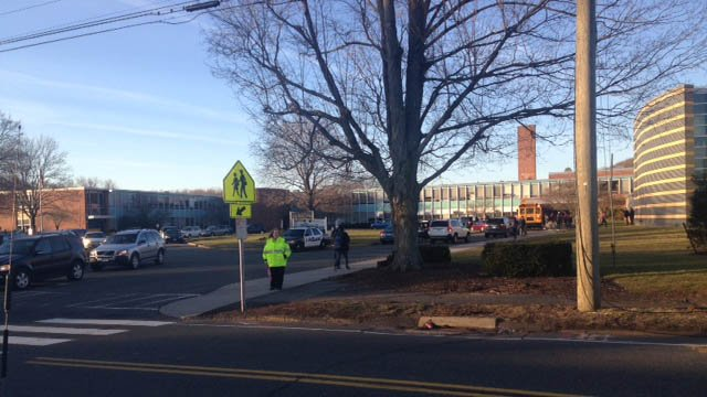 There was an increased police presence at Platt High School in Meriden following a brawl on Monday, police said. (WFSB photo)