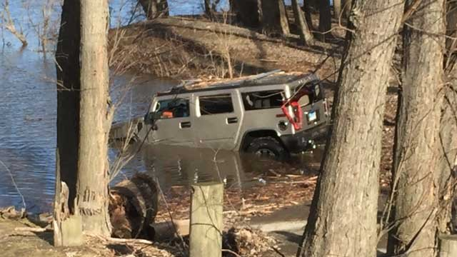 A truck was found in water near Vibert Road. (WFSB photo)