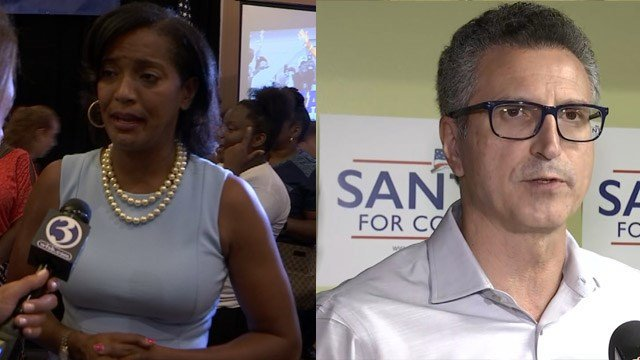 Jahana Hayes and Manny Santos came out of their respective primaries on Tuesday and will go head-to-head for a 5th District Congressional seat. (WFSB)