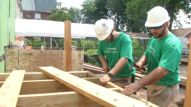 Eversource workers helped build a house on Thursday with Habitat for Humanity (WFSB)