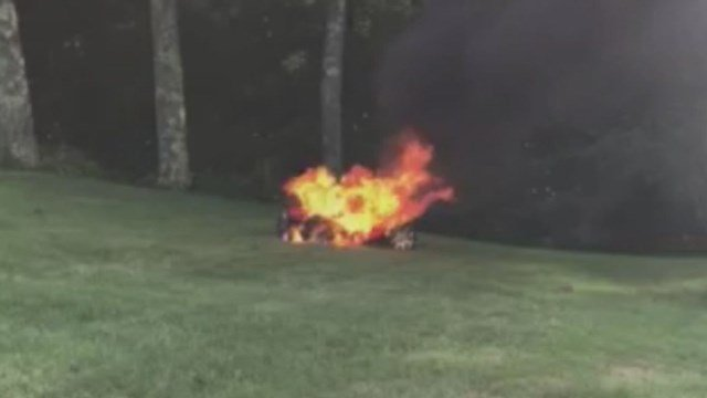 A toy car caught fire in North Andover, Mass. while two children were in it (Submitted)