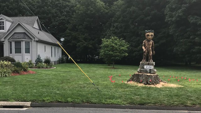 Groot, of Guardians of the Galaxy and Avengers fame, showed up on Cheshire Street in Cheshire. (WFSB)