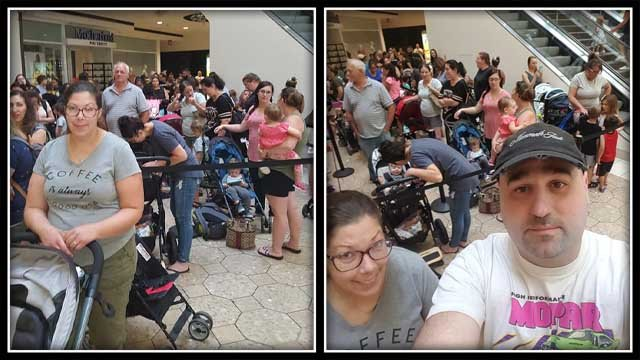 Customers lined up outside Build-A-Bear on Thursday (Jason Gerrish)