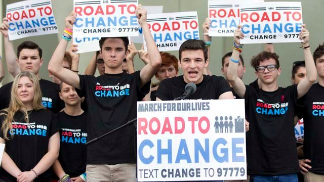 "Cameron Kasky speaks at a news conference June 4, in Parkland. A day after graduating, a group of school shooting survivors announced a multistate bus tour to ""get young people educated, registered and motivated to vote."" (AP Photo/Wilfredo Lee)"